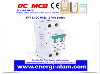 DC Solar MCB Mini Circuit Breaker 25A / 2P PV Panel Surya Max.550VDC